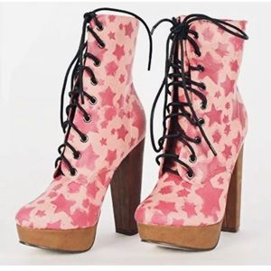 IRON FIST STARSHIP PINK HIGH HEELS PLATFORM BOOTS BOOTIE SHOES LACE UP SIZE 5 /&6
